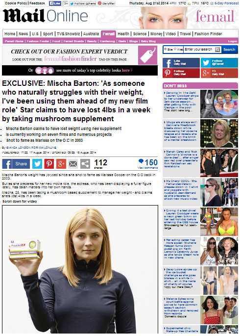 Proactol-XS-Slim-Boost-Fat-Binder-Success-Story-Mischa-Barton_Daily Mail